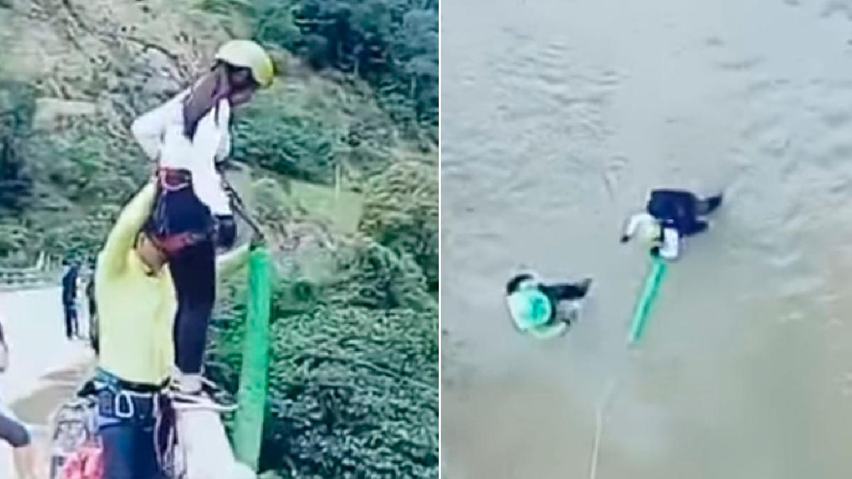 Tras el salto, la soga no detuvo su caída y se estrelló de frente contra el río.