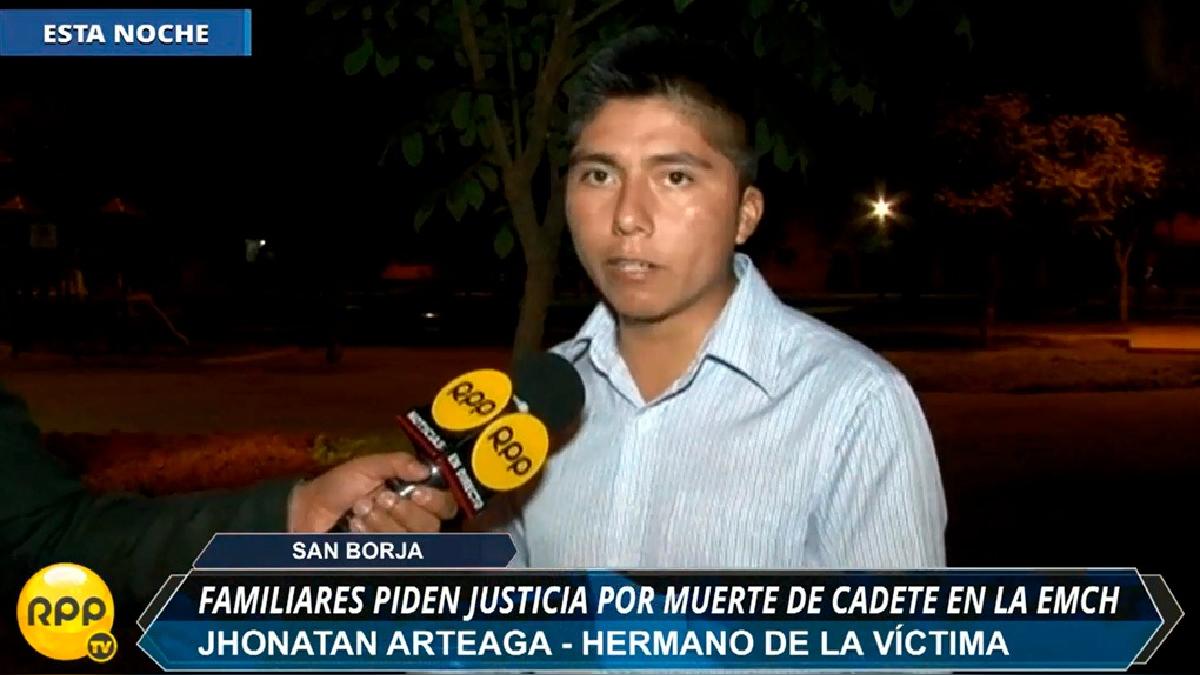 Jhonatan Arteaga, hermano del cadete fallecido, declaró para RPP Noticias.