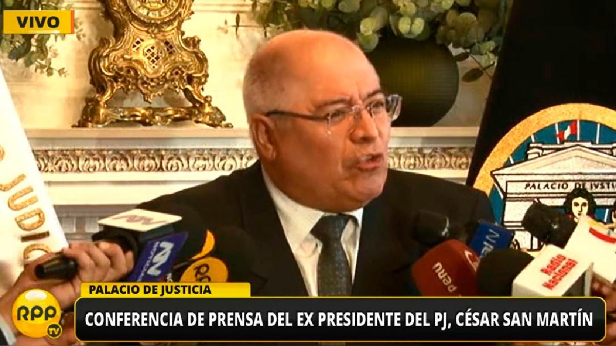 El expresidente del Poder Judicial, César San Martín, en conferencia de prensa.
