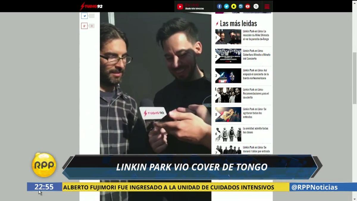 El popular Peláez de Studio 92, les presentó el video a los vocalistas de la banda.