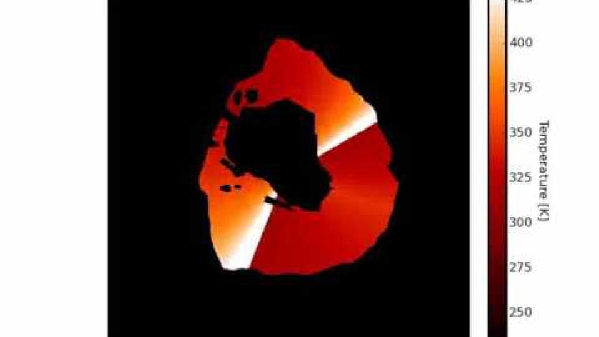 Esta es una simulación de las dos olas de lava en Loki Patera.