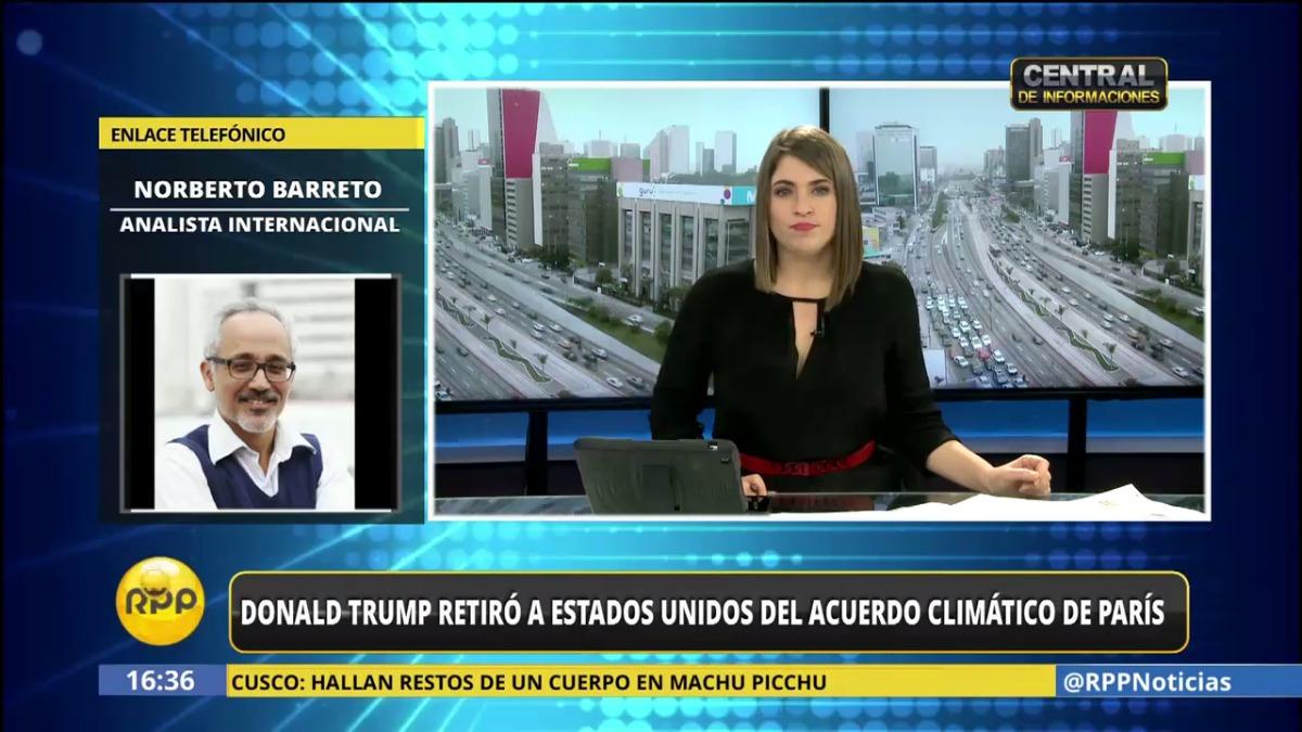 Roberto Barreto dijo que el anuncio de Donald Trump debilita el poder de Estados Unidos.