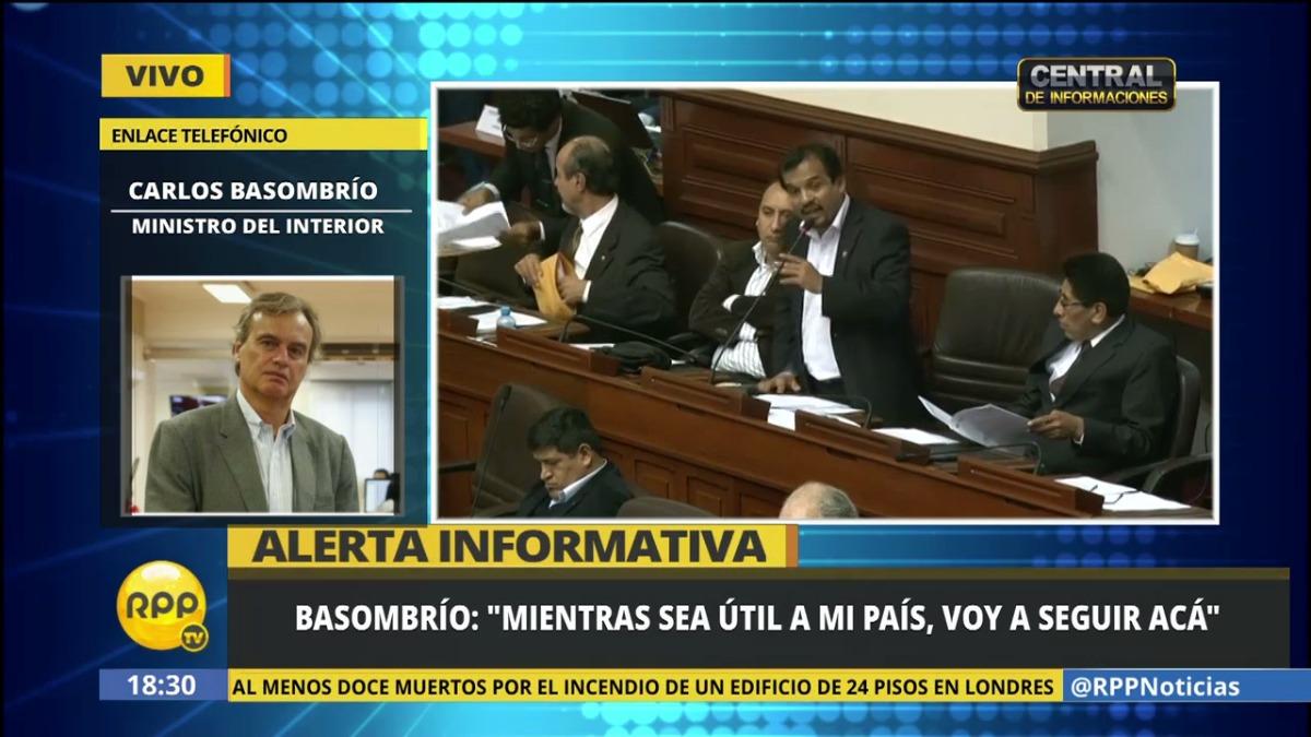 El ministro Basombrío dio sus primeras impresiones tras la decisión en RPP Noticias.