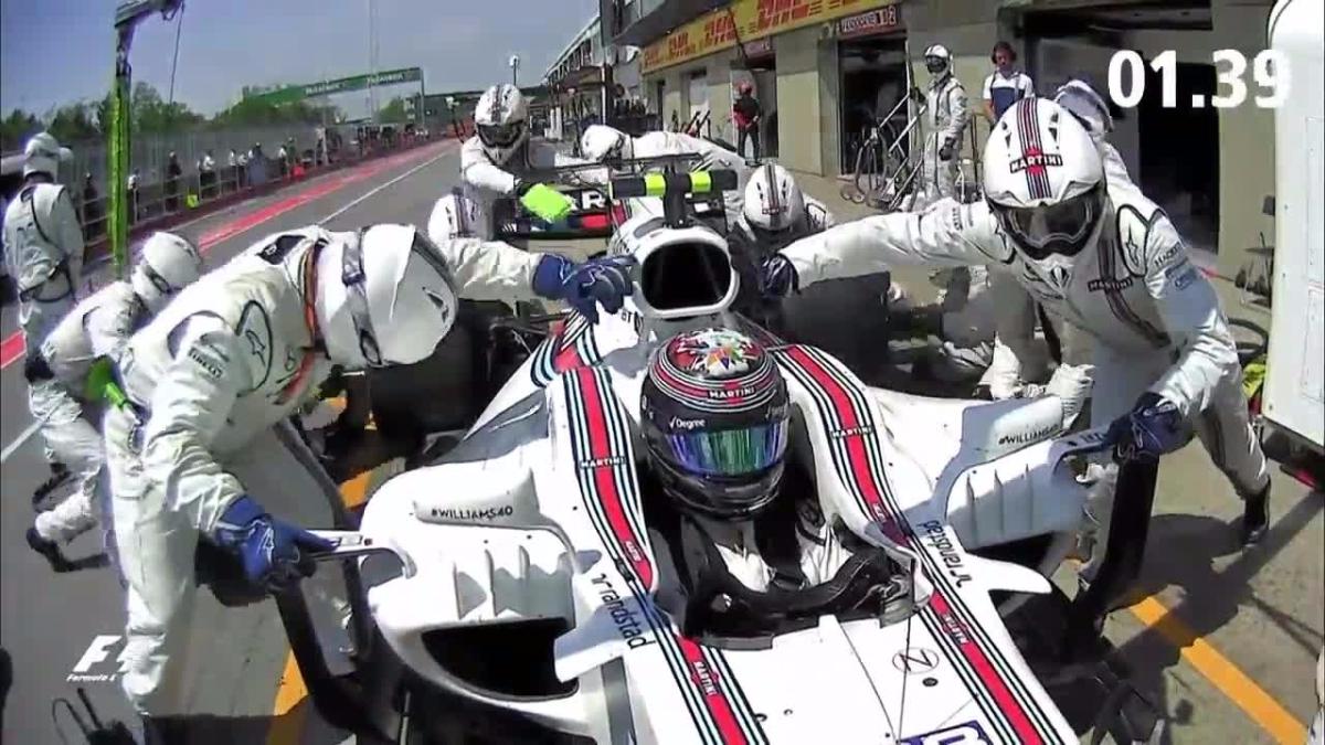 Así de rápida fue la parada del bólido de Williams.