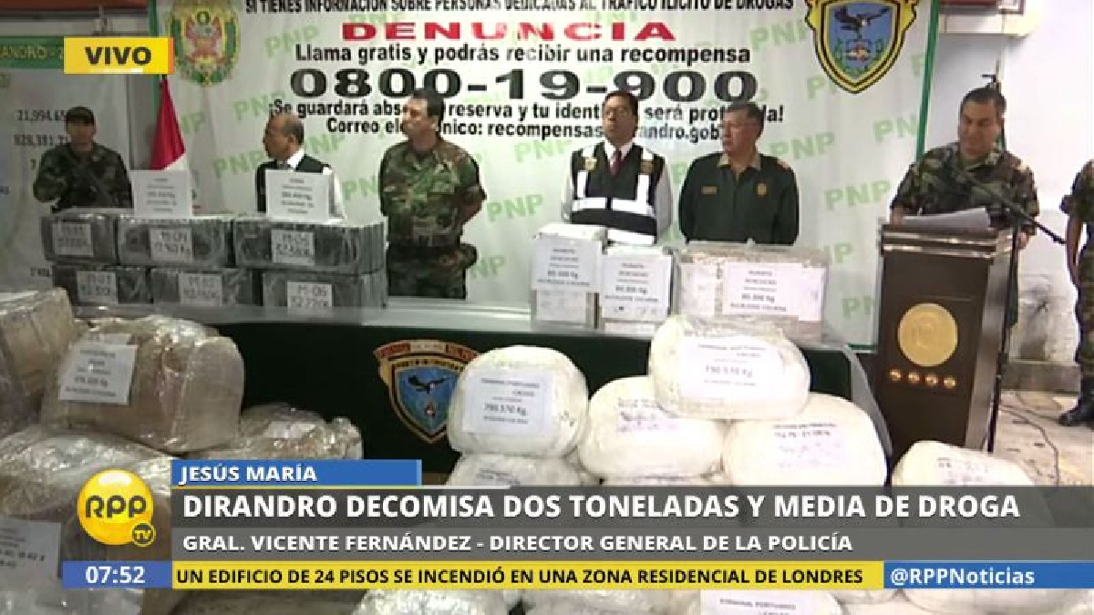 La Policía presentó los resultados de las operaciones realizadas en Lima, Callao, Piura, Ayacucho y Pasco.