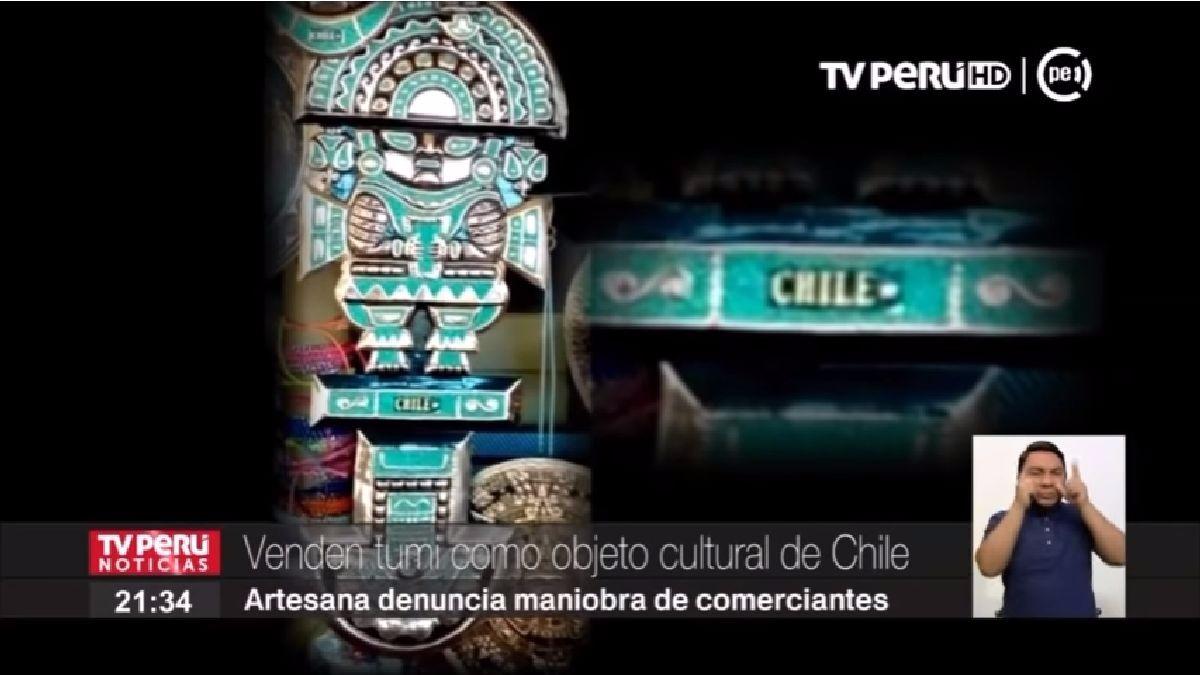 El canal del Estado, TV Perú, informó sobre la venta del tumi en Chile.