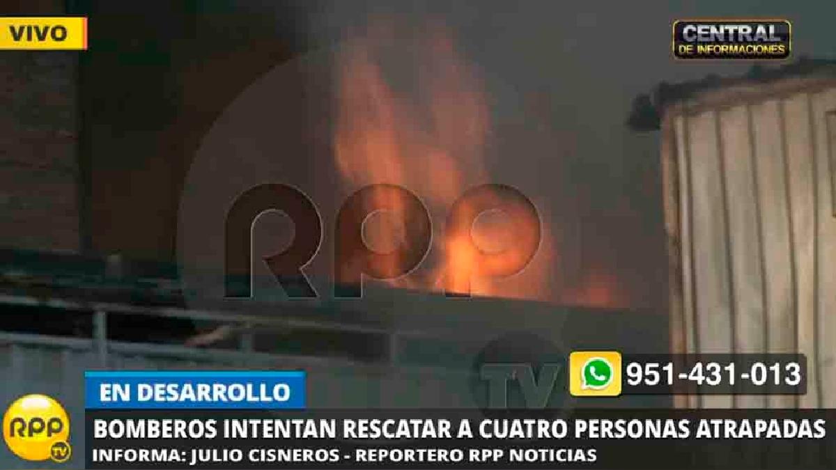 El fuego rodeó la zona donde está una de las personas atrapadas.