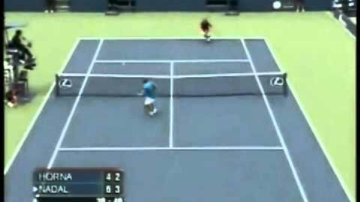 Luis Horna en duelo con Rafael Nadal.