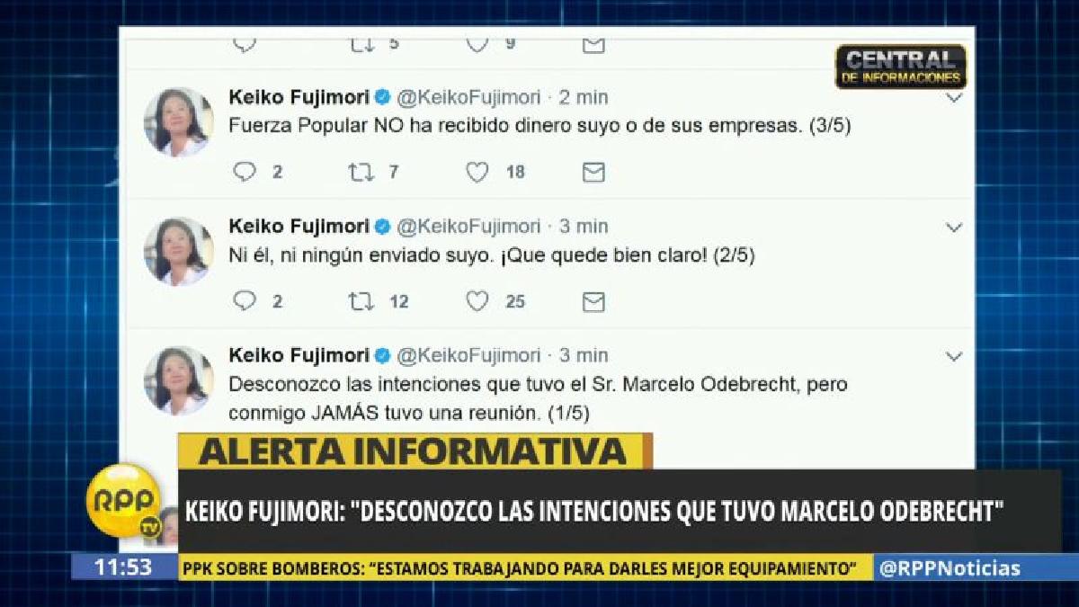 Keiko Fujimori negó haberse reunido con Marcelo Odebrecht.