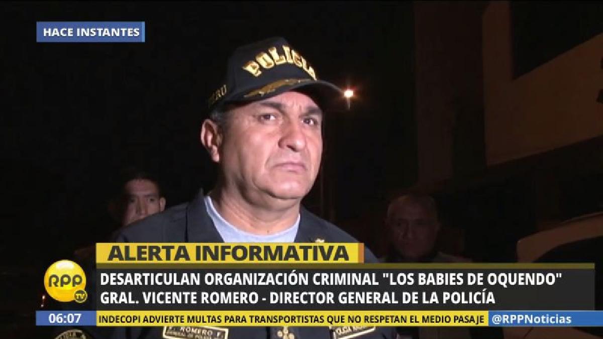 El director de la PNP, el general Vicente Romero, lamentó que la banda criminal haya estado integrada por policías.