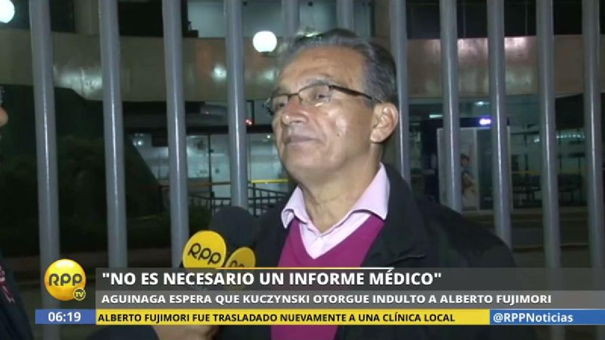 """Alejandro Aguinaga dijo esperar que el presidente Pedro Pablo Kuczynski """"le haga justicia"""" a Alberto Fujimori otorgándole el indulto."""