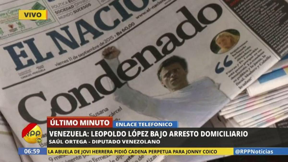 """El chavista Saúl Ortega dijo a RPP Noticias que el arresto domiciliario """"no modifica la culpabilidad de Leopoldo López""""."""