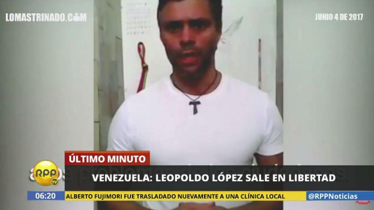 El líder opositor venezolano estaba preso en la cárcel militar de Ramo Verde desde febrero de 2014.