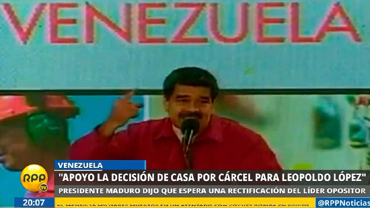 Nicolás Maduro dijo que apoya el cambio de prisión efectiva a domiciliaria para Leopoldo López.