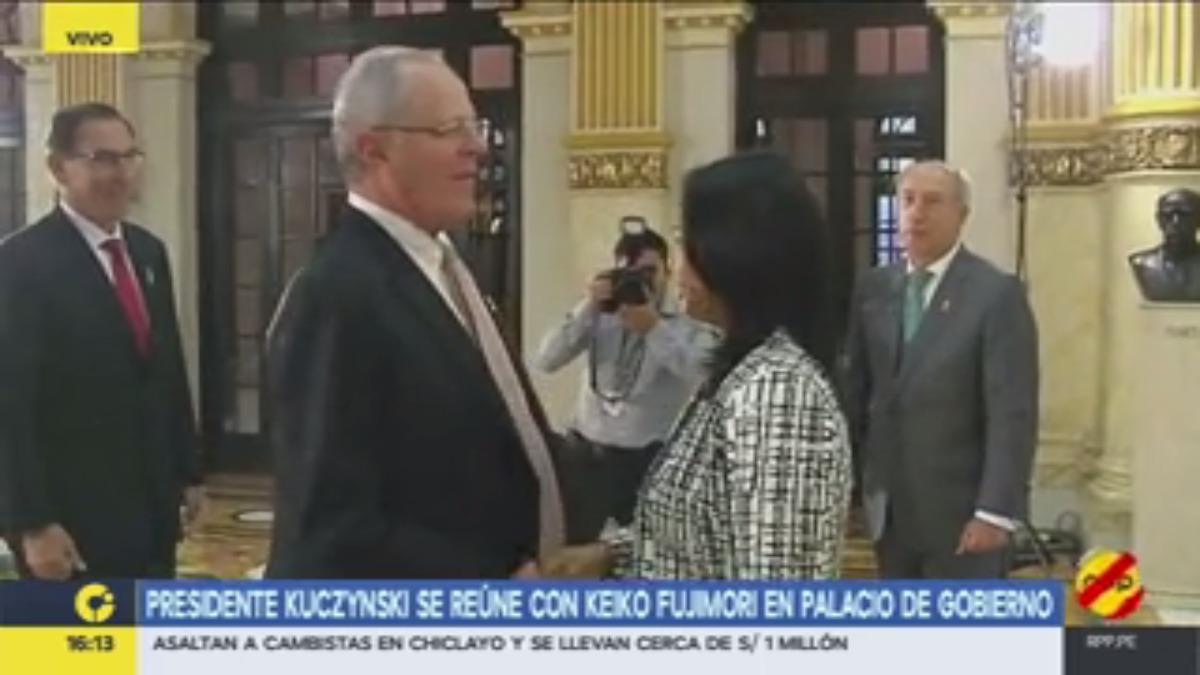 El presidente recibió a Keiko Fujimori poco después de las 4 de la tarde.