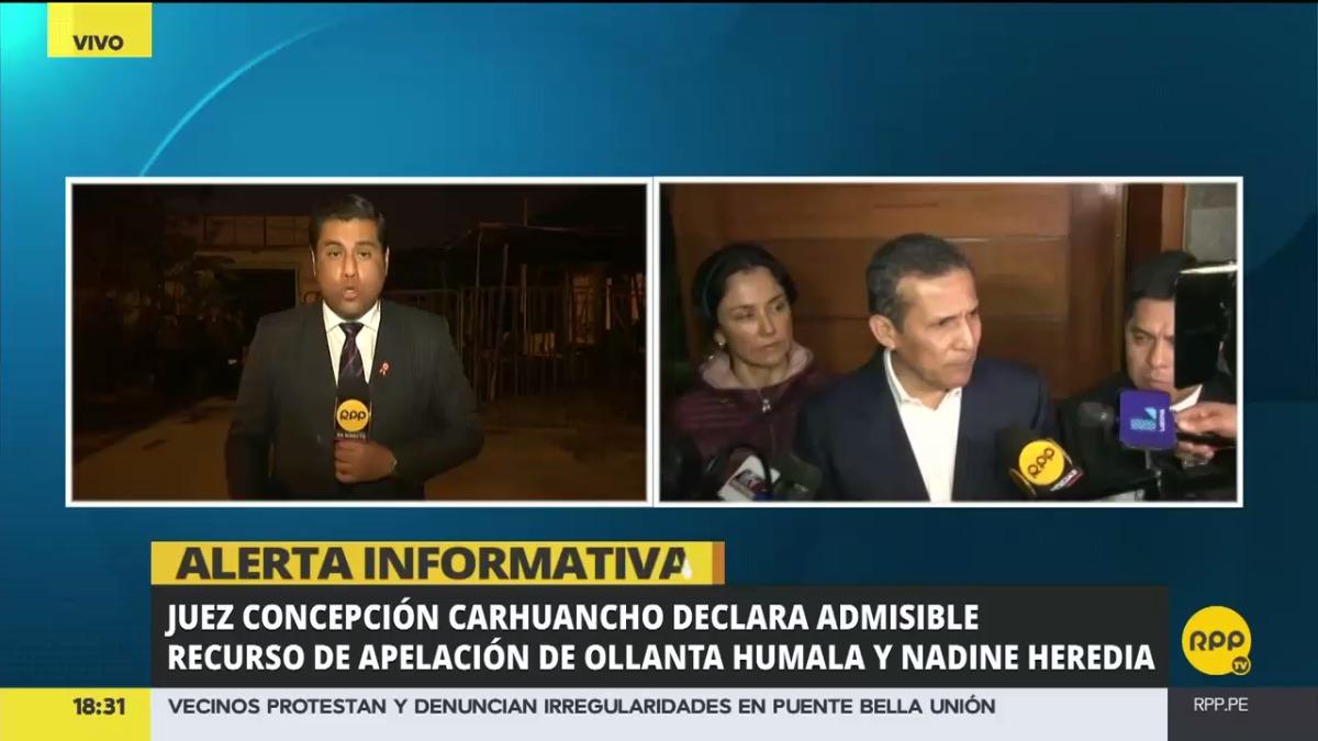 Esta mañana la defensa de Humala y Heredia cumplió con presentar el pedido de apelación a la orden de prisión preventiva por 18 meses dictada contra sus defendido el jueves pasado.