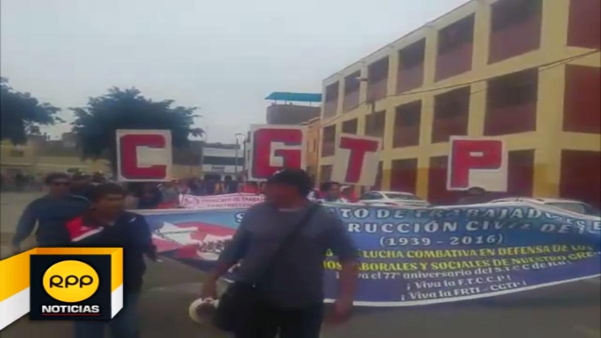 CGTP marcha en la ciudad de Ica.