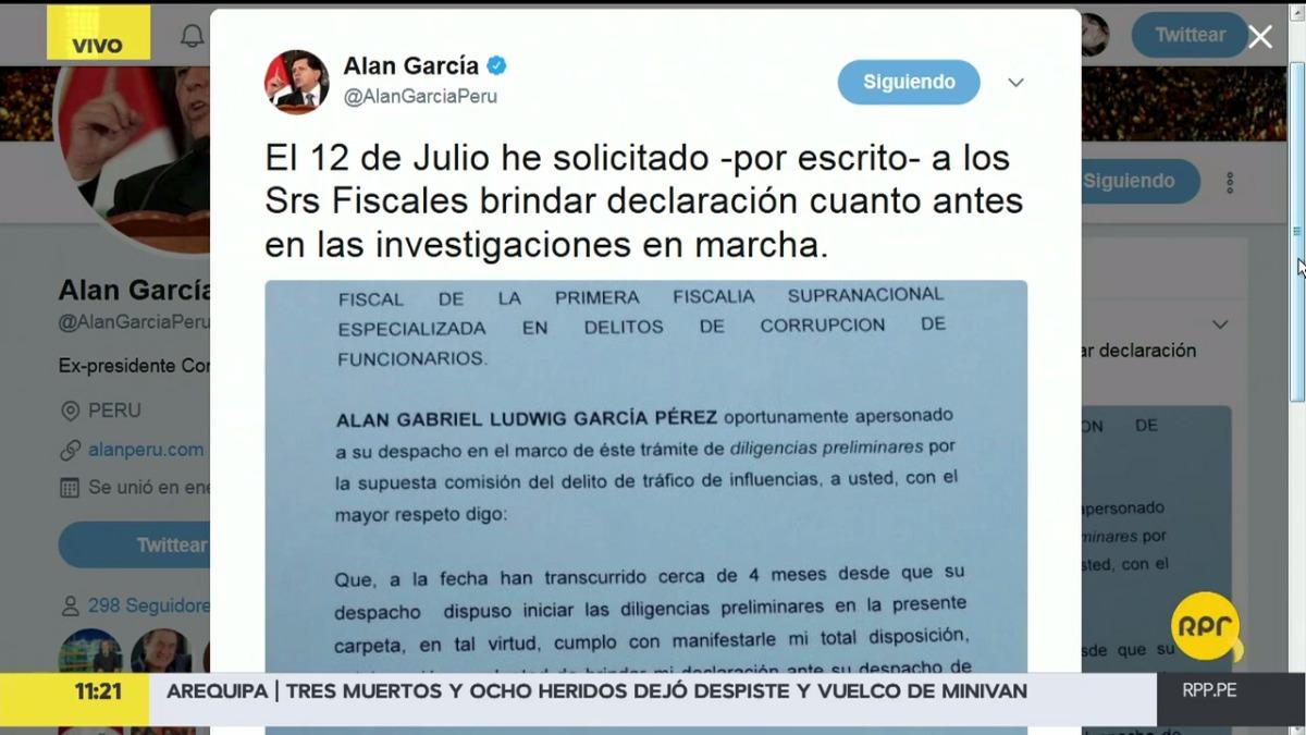Alan García escribió en su Twitter este martes.