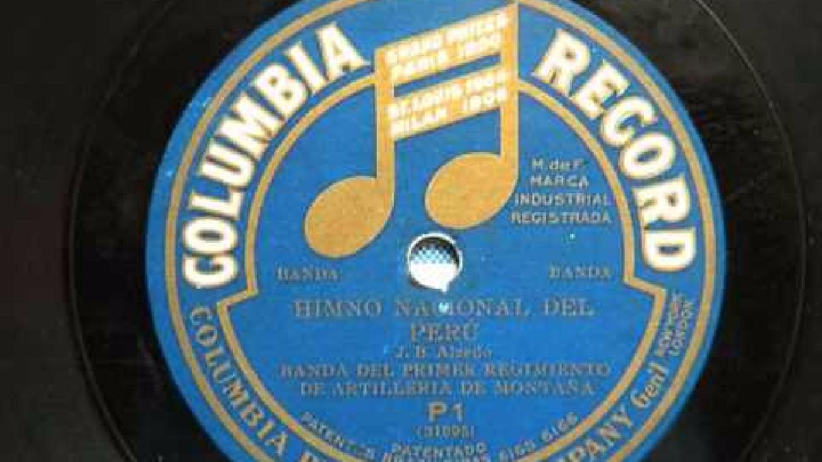 Versión original del Himno Nacional grabada en 1911 en los estudios de Columbia Record en Estados Unidos e interpretada por la Banda del Primer Regimiento de Artillería de la Montaña del Perú.