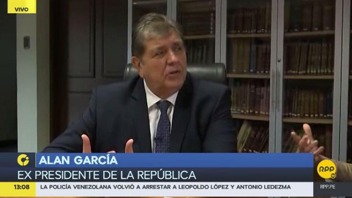 """El expresidente Alan García garantizó que nunca pisará una cárcel, porque """"jamás he recibido un centavo de nadie""""."""
