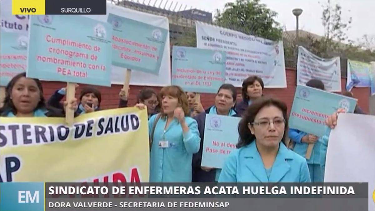 El sindicato de enfermeras del Minsa acata huelga a nivel nacional.