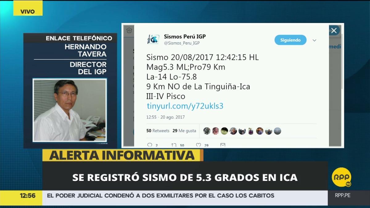 Hernando Tavera, director del IGP, dijo que la magnitud real fue de 5.3.