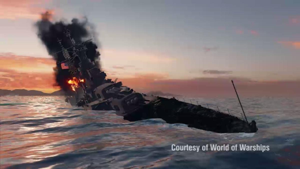El hundimiento del buque recreado en el juego World of Warships.