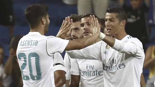 Real Madrid arrancó con: Casilla; Achraf, Sergio Ramos, Nacho, Theo; Lucas Vázquez, Marcos Llorente, Dani Ceballos, Asensio; Borja Mayoral y Cristiano Ronaldo.