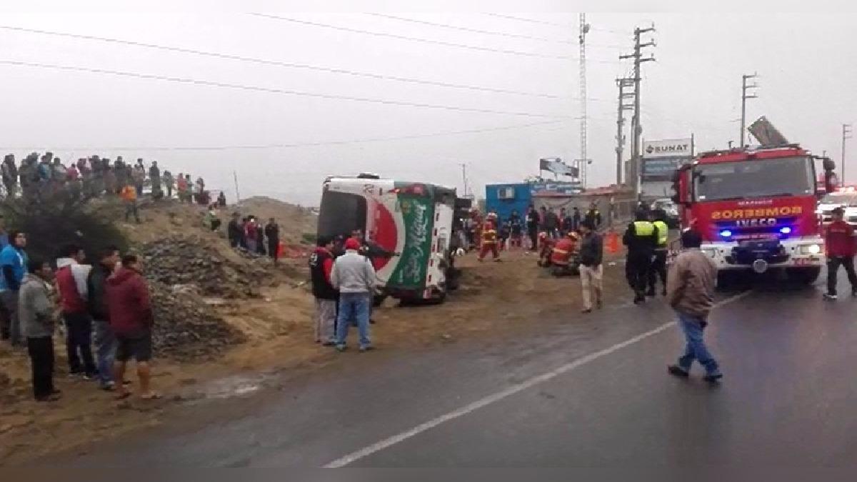 Accidente en plena carretera Panamericana Norte.