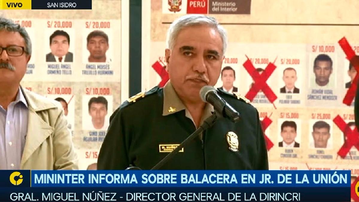 El director de la Dirincri, general Miguel Núñez.