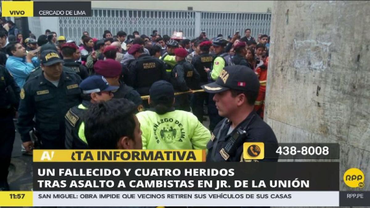 La balacera ocurrió en la cuadra siete del jirón de la Unión, en el Centro de Lima.