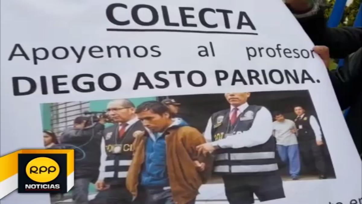 Amigos y compañeros del profesor Diego Asto Pariona se reunieron para brindar su apoyo a detenido por presuntamente agredir a policía.