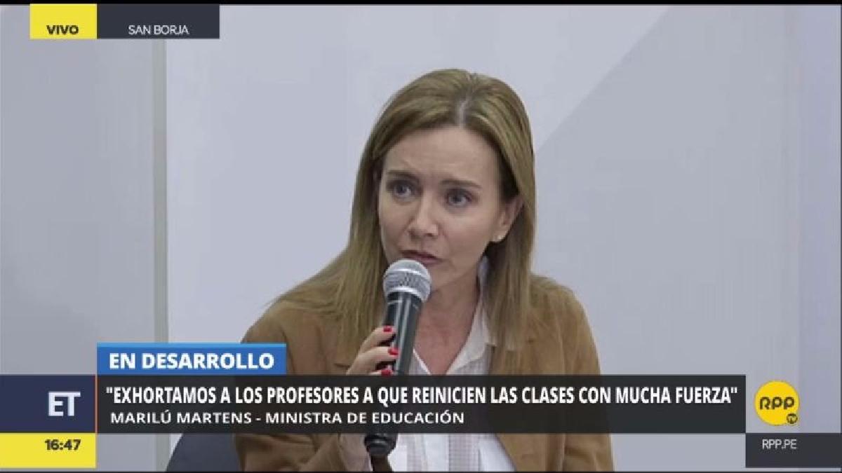 La ministra de Educación saludó el levantamiento temporal de la huelga magisterial y pidió a los maestros retomar las clases con mucha fuerza,.