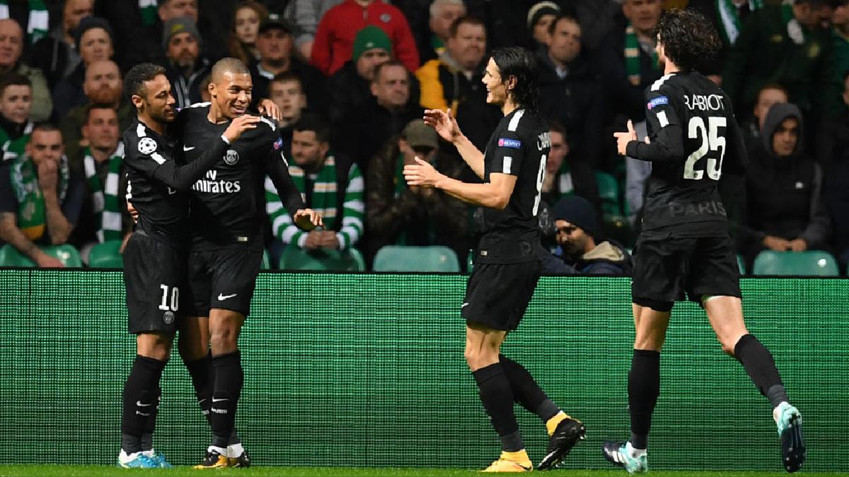PSG goleó 5-0 al Celtic con goles de Neymar, Mbappé y Cavani.