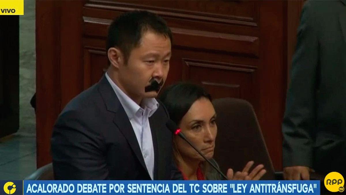 Así fue la protesta de Kenji Fujimori en el Congreso.