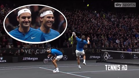 Revisa el momento más gracioso en el partido que jugaron Rafael Nadal y Roger Federer.