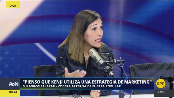 Milagros Salazar, elegida vocera alterna de Fuerza Popular para este periodo del Congreso, es parlamentaria por Lima y enfermera de profesión.