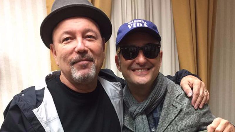 Rubén Blades y Jorge Drexler durante una conferencia de prensa en Perú.