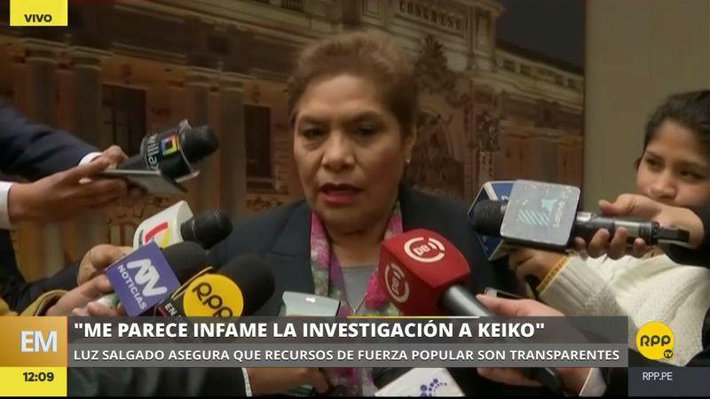 Luz Salgado rechazó la adecuación de la investigación a Keiko Fujimori y a su esposo.