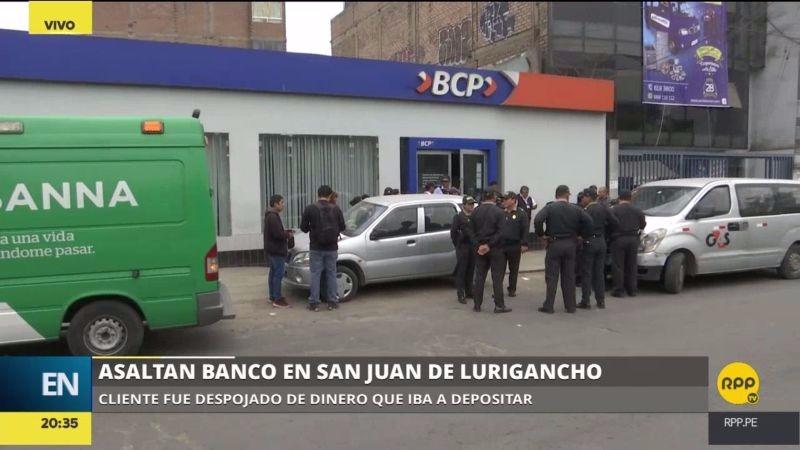 Los delincuentes ingresaron encapuchados a la agencia bancaria y también asaltaron a un cliente.