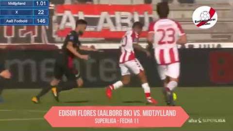 Edison Flores ha metido un solo gol en la temporada con el Aalborg.