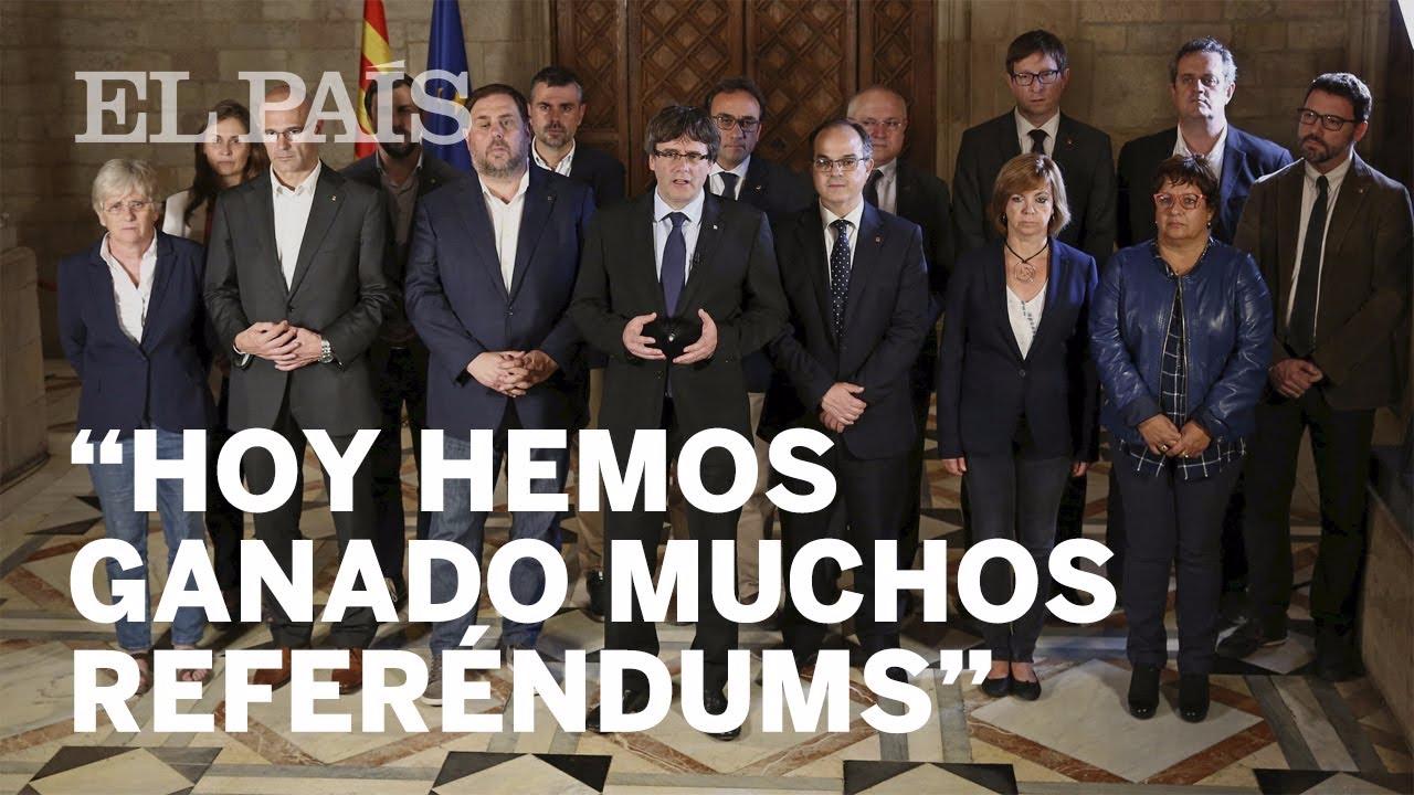 Puigdemont estuvo acompañado de su gabinete.