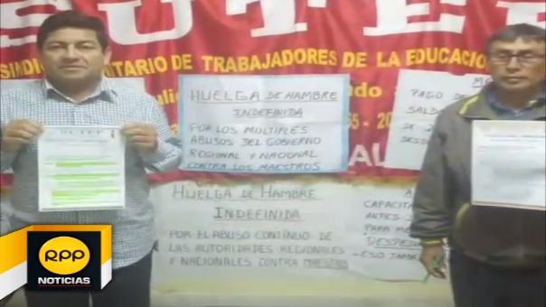 Profesores acatan huelga de hambre en el local del Sutep Lambayeque