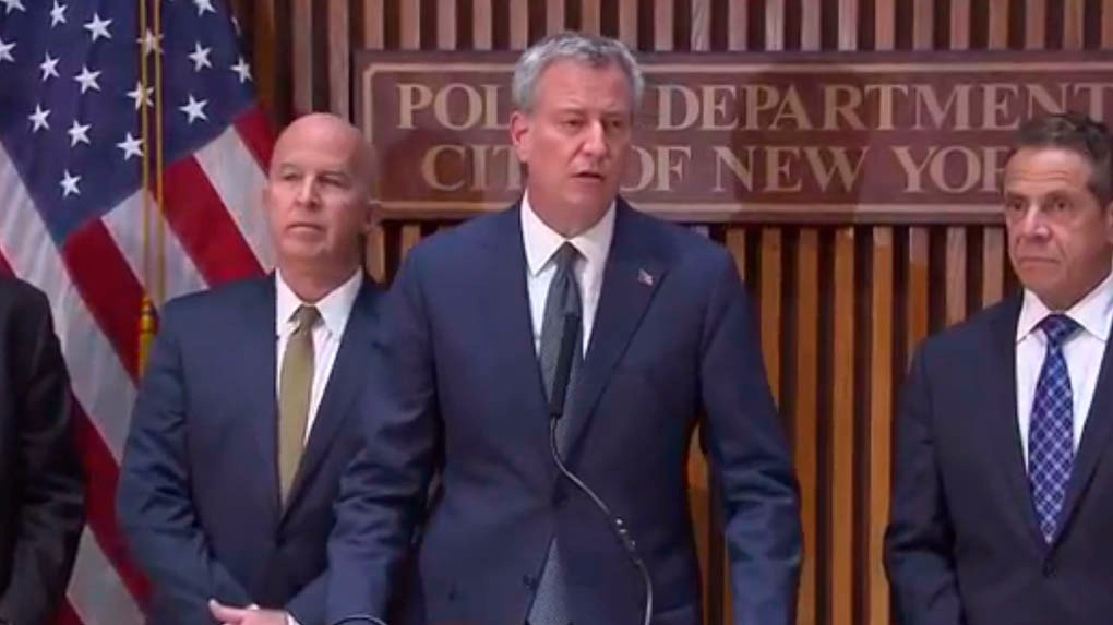 El alcalde de Nueva York Bill de Blasio en conferencia de prensa tras el atentado.