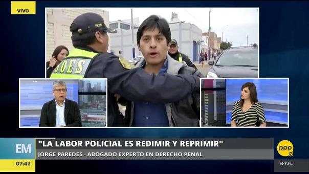 El abogado Jorge Paredes consideró que la Policía debió llevar al joven a una comisaría por flagrancia.