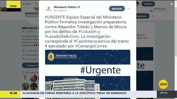 A través de su Twitter, el Ministerio Público emitió un comunicado sobre el caso Carretera Interoceánica.
