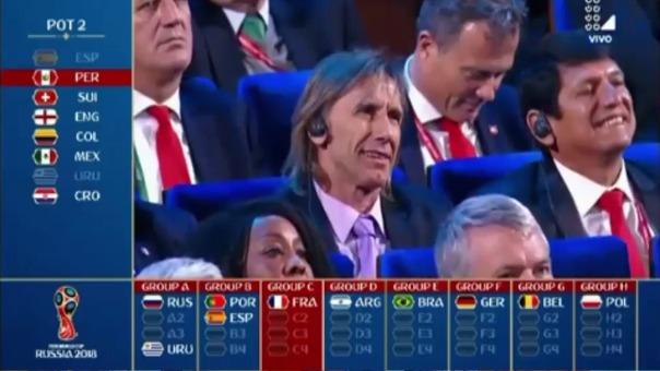 Ricardo Gareca encabezó la delegación peruana presente en el sorteo de la fase de grupos de Rusia 2018.