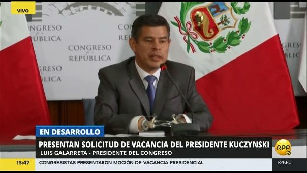 Luis Galarreta habló sobre el proceso que seguirá la moción de vacancia presidencial presentada este viernes.