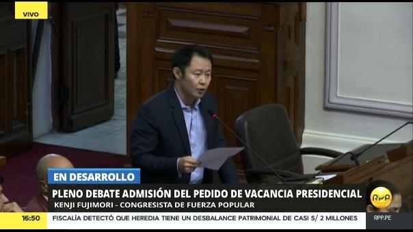 Kenji Fujimori participó al inicio del debate de esta tarde en el Congreso.