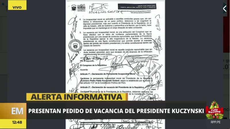 Esta es la moción de vacancia presidencial firmada por 27 legisladores de diversas bancadas.